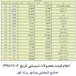 قیمت محصولات شیمیایی 13 بهمن سال 98